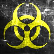 Bio hazard sign on a grunge background - stock illustration