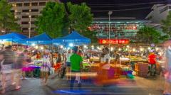 Night phuket island patong town fish food market 4k time lapse thailand Stock Footage