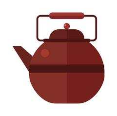 Traditional tea ceremony gray teapot with cup on table flat vector illustration - stock illustration