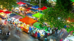 Night illumination patong town tourist food market 4k time lapse thailand Stock Footage