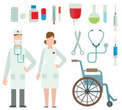 Vector illustration of flat colored ambulance doctors icons Stock Illustration