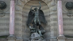 Fontaine Saint-Michel - Paris, France Stock Footage
