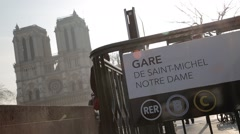 Gare de Saint-Michel / Notre Dame - Paris, France Stock Footage