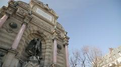 Fontaine Saint-Michel - Paris, France Stock Footage
