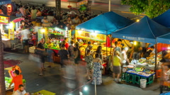famous night patong beach food market 4k time lapse thailand - stock footage