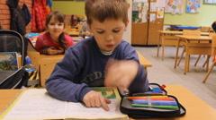 School class kids reading  Stock Footage