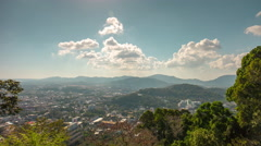 Day sun phuket town monkey hill viewpoint panorama 4k time lapse thailand Stock Footage