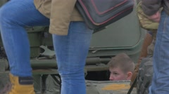 People Kids on a Tank Turret Excursion Military Camp Nato Opole Atlantic Stock Footage