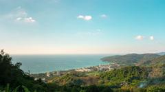 Phuket karon beach town buddha mountain panorama 4k time lapse thailand Stock Footage
