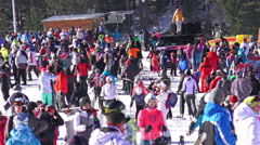 Crowd of people skiers in Bansko World cup ski resort, 4k Stock Footage