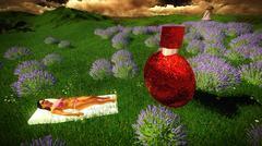 woman lying between lavender flowers on field - stock illustration