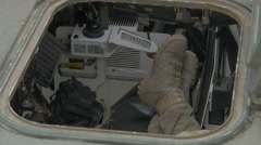 Nato Soldier in Cabin of Vehicle Atlantic Resolve Operation in Opole Poland Stock Footage
