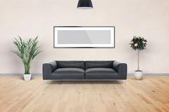 Blank Picture frame on the wall. Place your creation in this empty space. - stock illustration