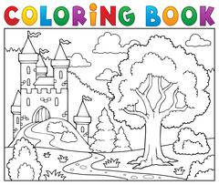 Coloring book castle and tree - eps10 vector illustration. Stock Illustration