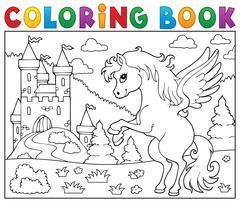 Coloring book pegasus near castle - eps10 vector illustration. Stock Illustration