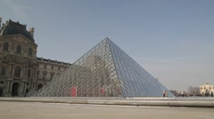 The Louvre Pyramid (Pyramide du Louvre) - Paris, France Stock Footage