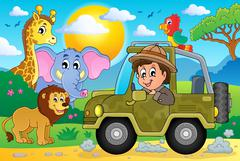 Safari theme image - eps10 vector illustration. Stock Illustration