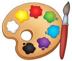 Paint palette theme image - eps10 vector illustration. Stock Illustration