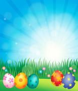 Decorated Easter eggs theme image - eps10 vector illustration. Stock Illustration
