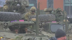 Nato Multinational Training Soldiers Are Sitting in a Tank Cabins With Its - stock footage