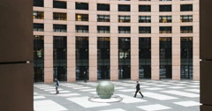The Courtyard inside the European Parliament building, Strasbourg, France, - stock footage