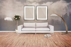 Two Blank Picture frame on the wall. Place your creation in this empty space. - stock illustration