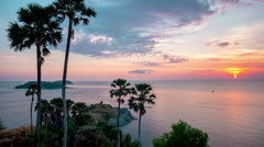Phuket famous observation prompthet viewpoint sunset 4k time lapse thailand Stock Footage