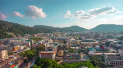 Sunny day patong beach town roof top panorama 4k time lapse thailand Stock Footage