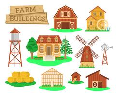 Farm buildings and constructions flat infographic elements Stock Illustration