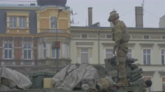Nato Soldier on Turret of Vehicle Opole Poland Atlantic Resolve Operation Stock Footage