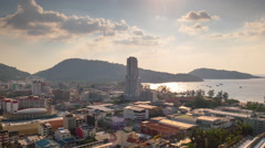 Patong beach town sunset roof top panorama 4k time lapse thailand Stock Footage