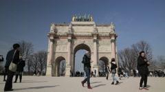 Arc de Triomphe du Carrousel - Paris, France Stock Footage