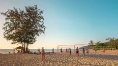 Kata karon beach sunset volleyball play ground 4k time lapse thailand Stock Footage