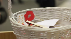 Accessories for a photo shoot in a basket Stock Footage