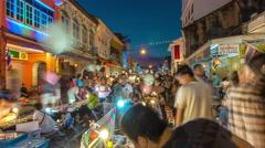 Famous phuket town sunday market panorama 4k time lapse thailand Stock Footage