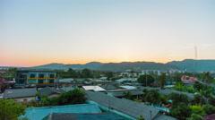 Sunset phuket town roof top panorama 4k time lapse thailand Stock Footage