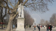 Tuileries Garden & Grande Roue de Paris - Paris, France Stock Footage