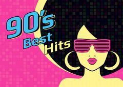 Best hits of 90s illistration with disco woman wearing glasses and on pink - stock illustration