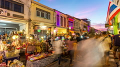 Phuket town famous sunday market 4k time lapse thailand Stock Footage