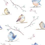 Watercolor  spring  rustic pattern with nest, birds, branch,tree - stock photo
