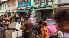 Phuket town famous sunday market street view 4k time lapse thailand Stock Footage
