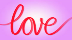 Word love written red on pink Stock Footage