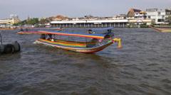 Bangkok river famous tourist taxi boat 4k panorama thailand Stock Footage