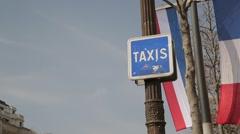 Taxi Sign on Avenue des Champs-Élysées - Paris, France Stock Footage