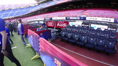 Barca stadium players vip seats, panning shot Stock Footage