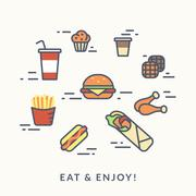 Set of junk food contour icons burger with hotdog Stock Illustration