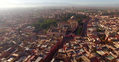 Aerial drone footage of residential district on sunny day, Marrakesh, Morocco Stock Footage