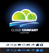 Cloud hosting storage logo icon set Stock Illustration