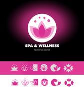 Spa wellness lotus flower logo icon - stock illustration