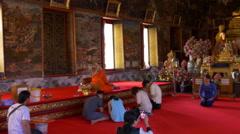 Famous wat arun temple inside interior panorama 4k bangkok thailand Stock Footage